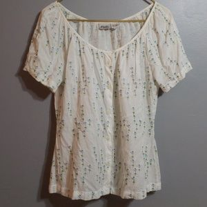 VINTAGE Blushe Cream Blouse, Embroidered Size L